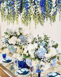 allestimento floreale tavola nozze Classic blue