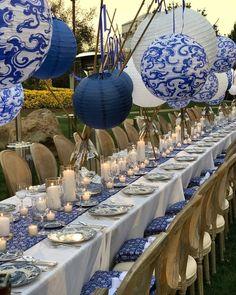 allestimento in bianco e blue