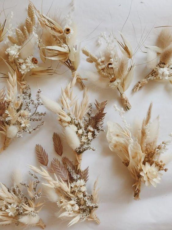 bottoniere  per matrimonio fiori  secchi
