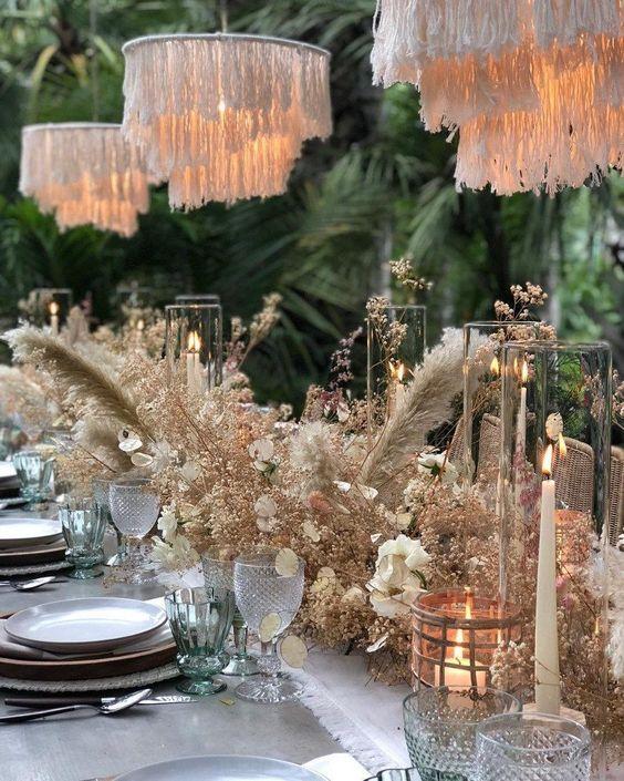 tavolo matrimonio imperiale con fiori secchi