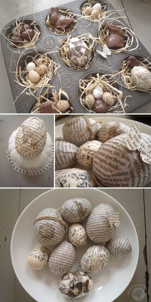 uova decorate con avanzi di giornale