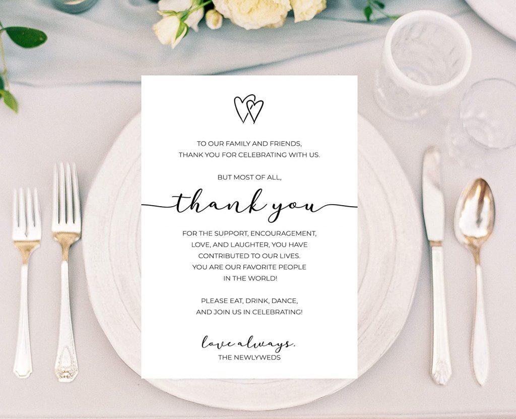 thank you card per gli ospiti